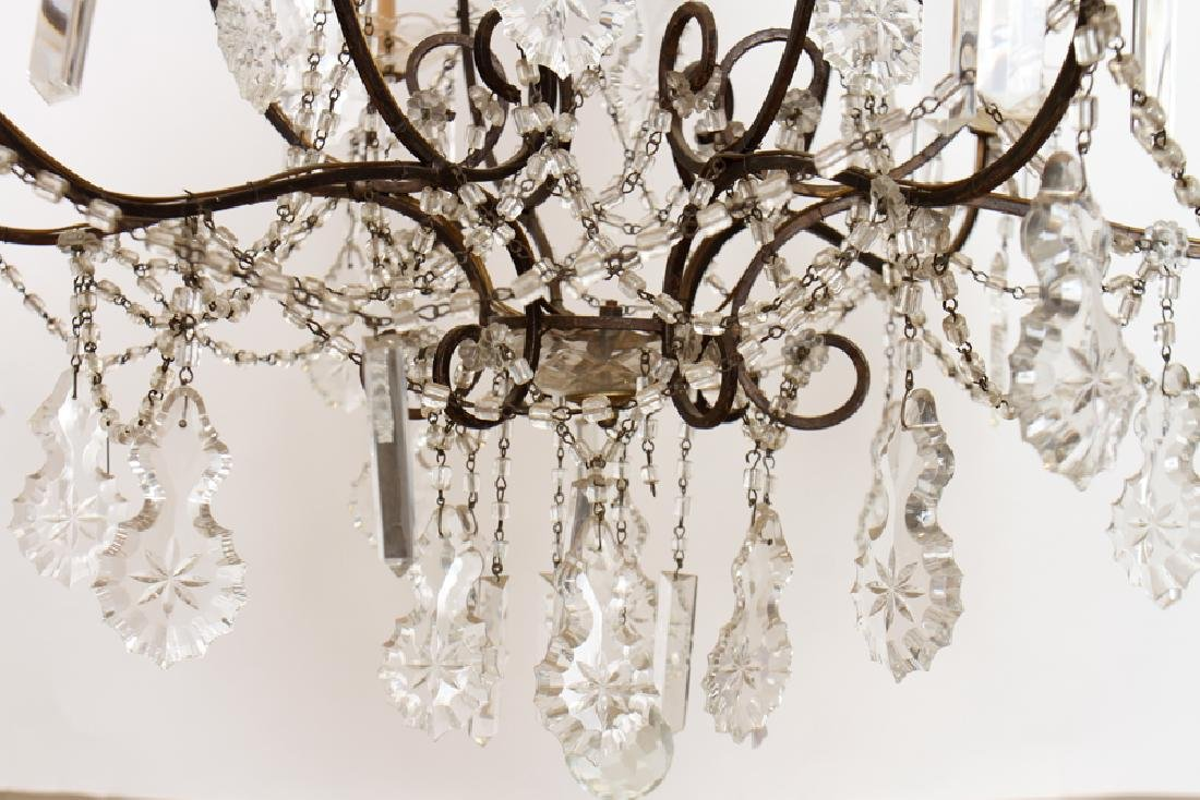 ITALIAN IRON 9 LIGHT CHANDELIER CIRCA 1940 - 4