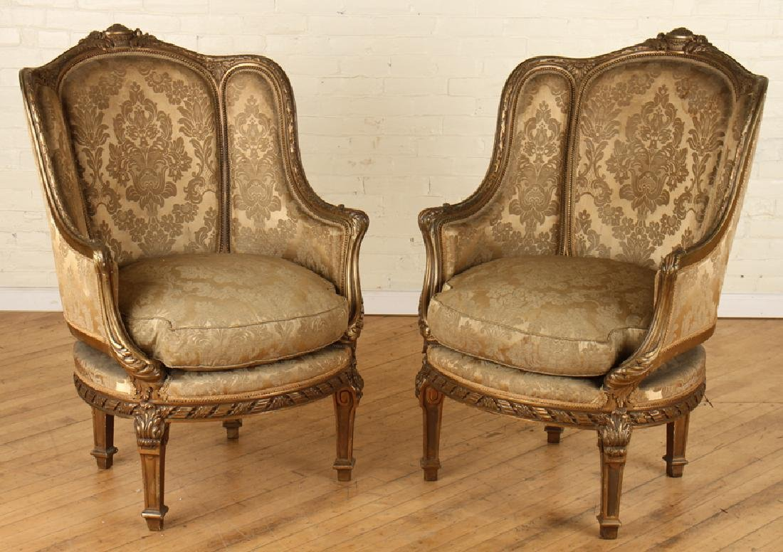 PAIR FRENCH LOUIS XVI GILT WOOD BERGERE CHAIRS