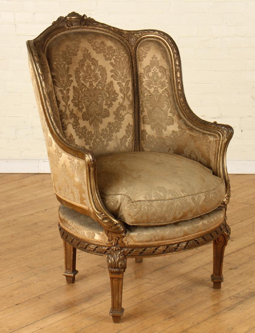 PAIR FRENCH LOUIS XVI GILT WOOD BERGERE CHAIRS - 2