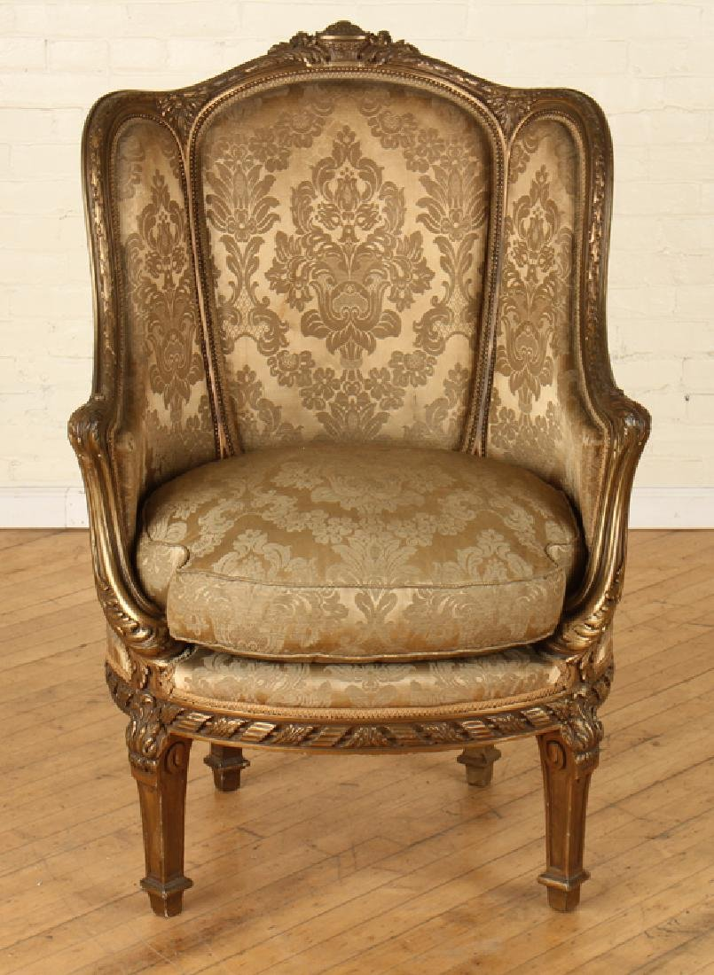 PAIR FRENCH LOUIS XVI GILT WOOD BERGERE CHAIRS - 3