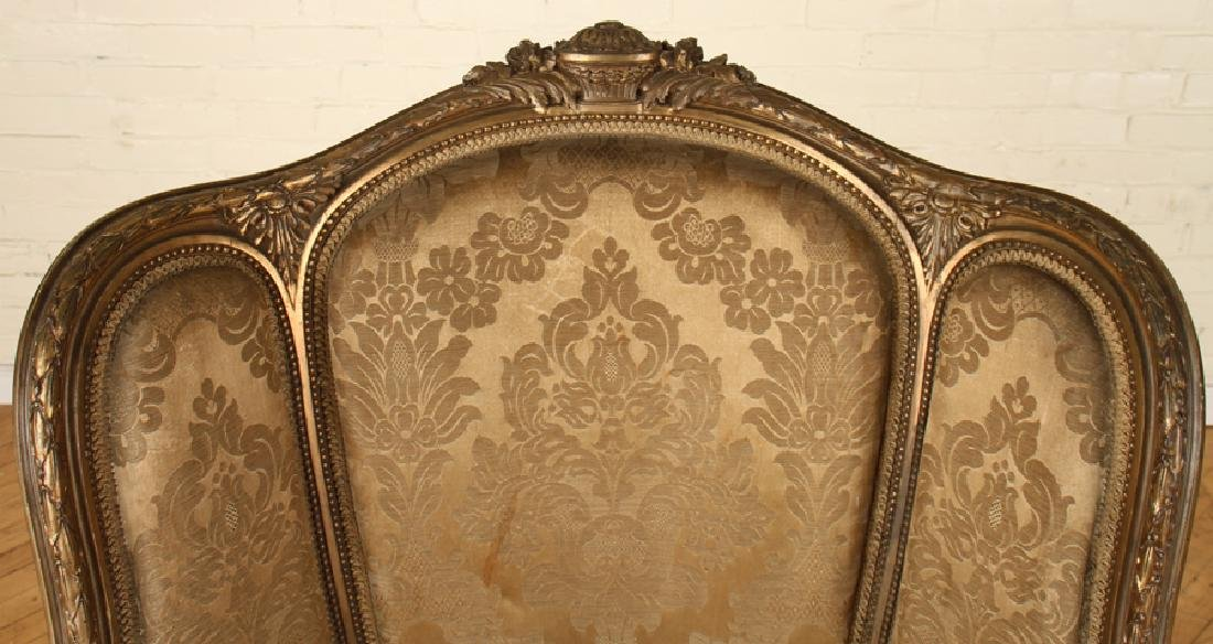 PAIR FRENCH LOUIS XVI GILT WOOD BERGERE CHAIRS - 4