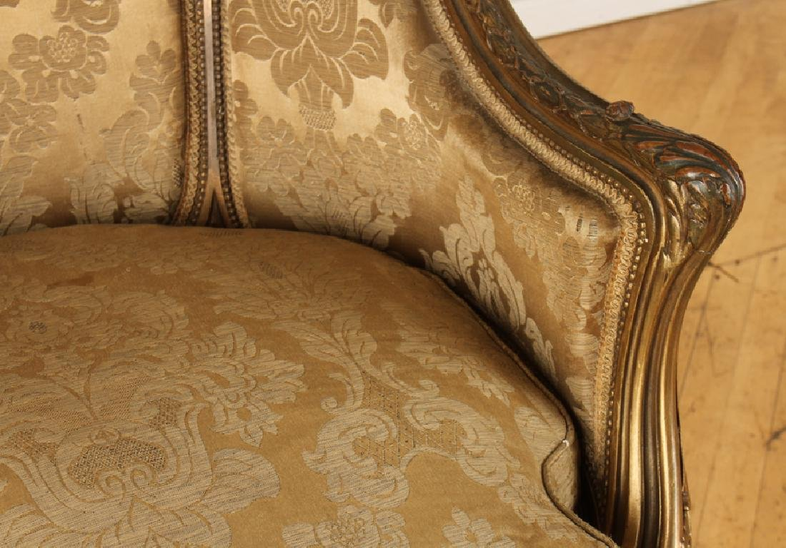 PAIR FRENCH LOUIS XVI GILT WOOD BERGERE CHAIRS - 5