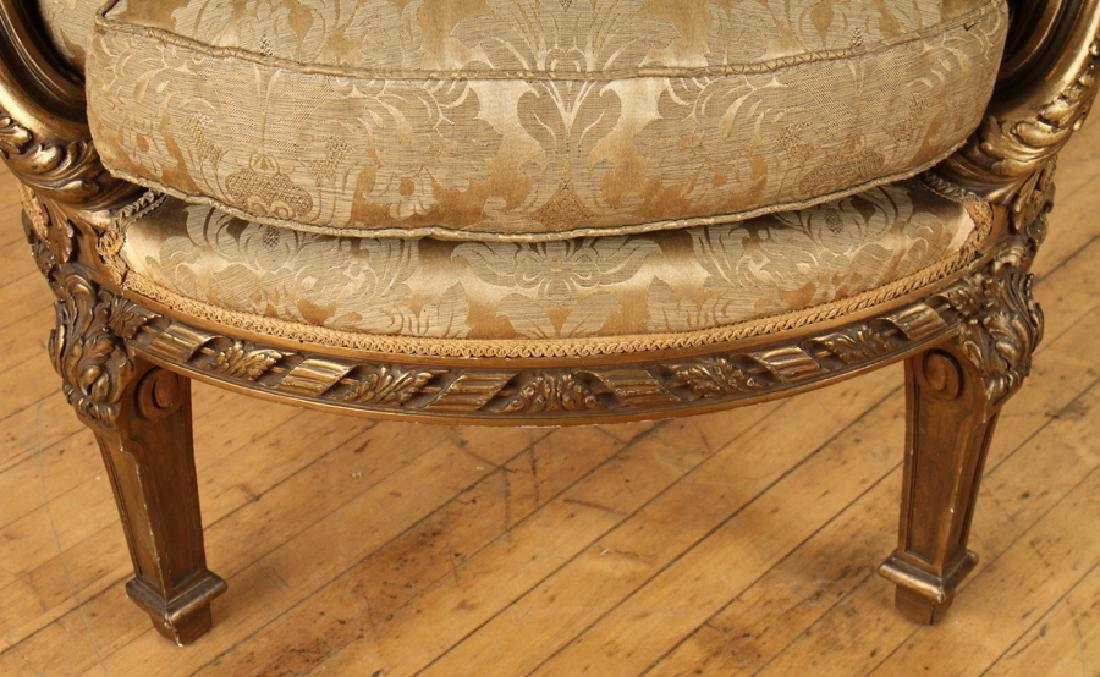 PAIR FRENCH LOUIS XVI GILT WOOD BERGERE CHAIRS - 6