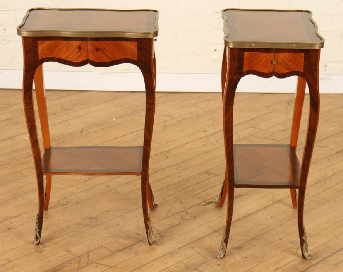 PAIR TWO TIER LOUIS XV STYLE SIDE TABLES