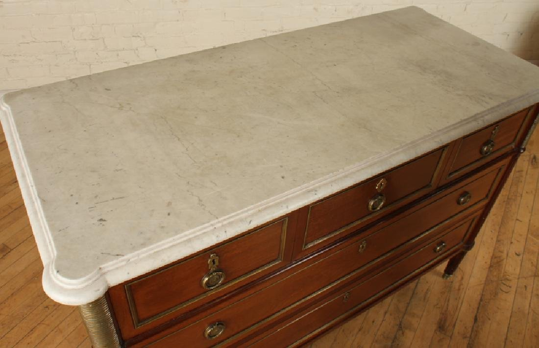 FRENCH MAHOGANY FIVE DRAWER COMMODE MARBLE TOP - 3