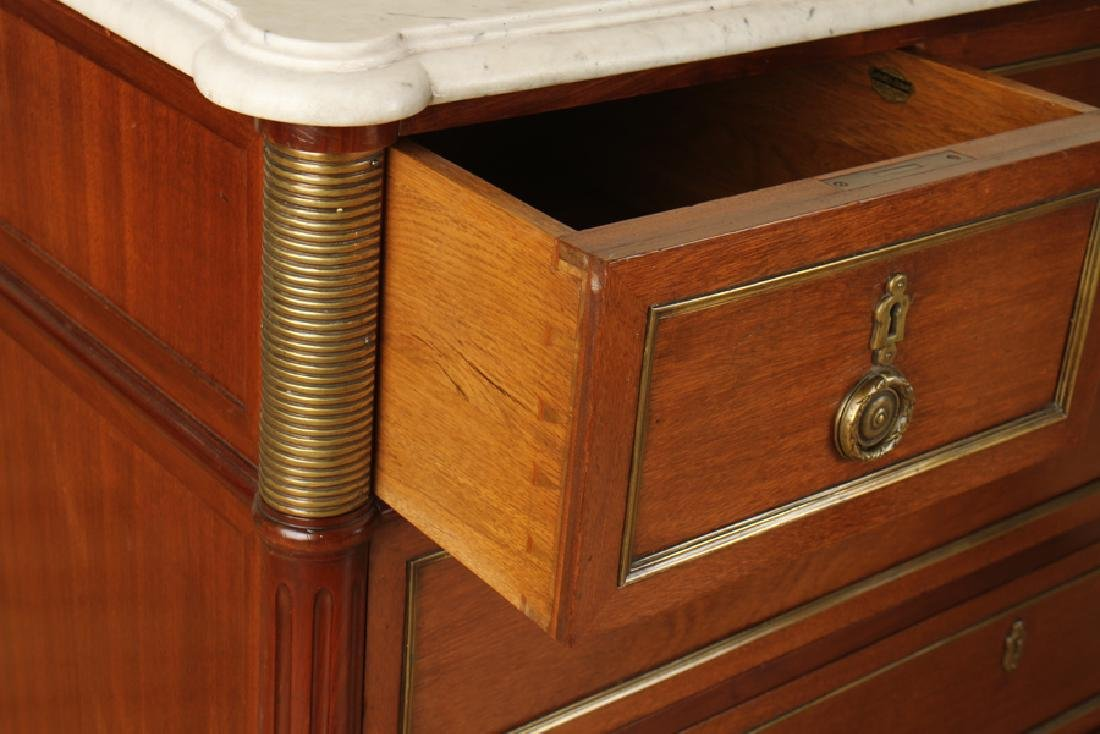 FRENCH MAHOGANY FIVE DRAWER COMMODE MARBLE TOP - 4