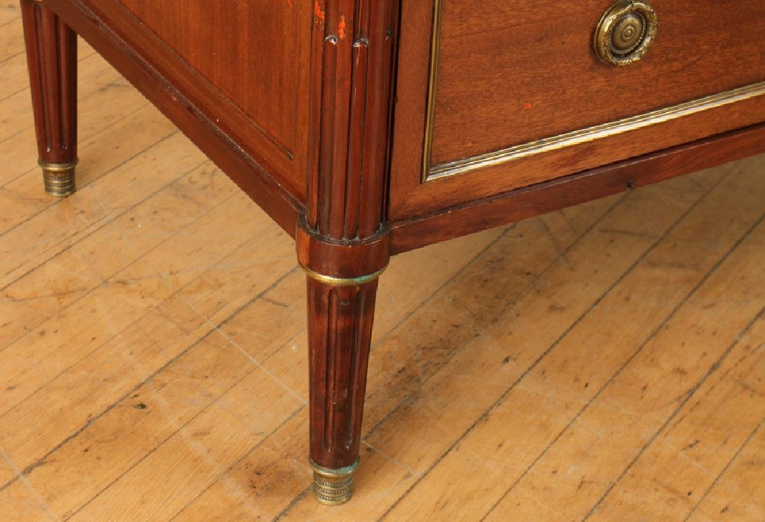 FRENCH MAHOGANY FIVE DRAWER COMMODE MARBLE TOP - 5