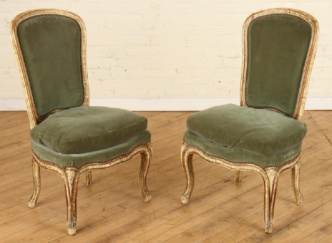 PAIR PAINTED UPHOLSTERED CHAIRS CABRIOLE LEGS