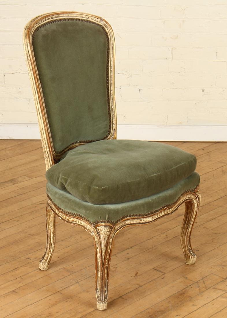 PAIR PAINTED UPHOLSTERED CHAIRS CABRIOLE LEGS - 2