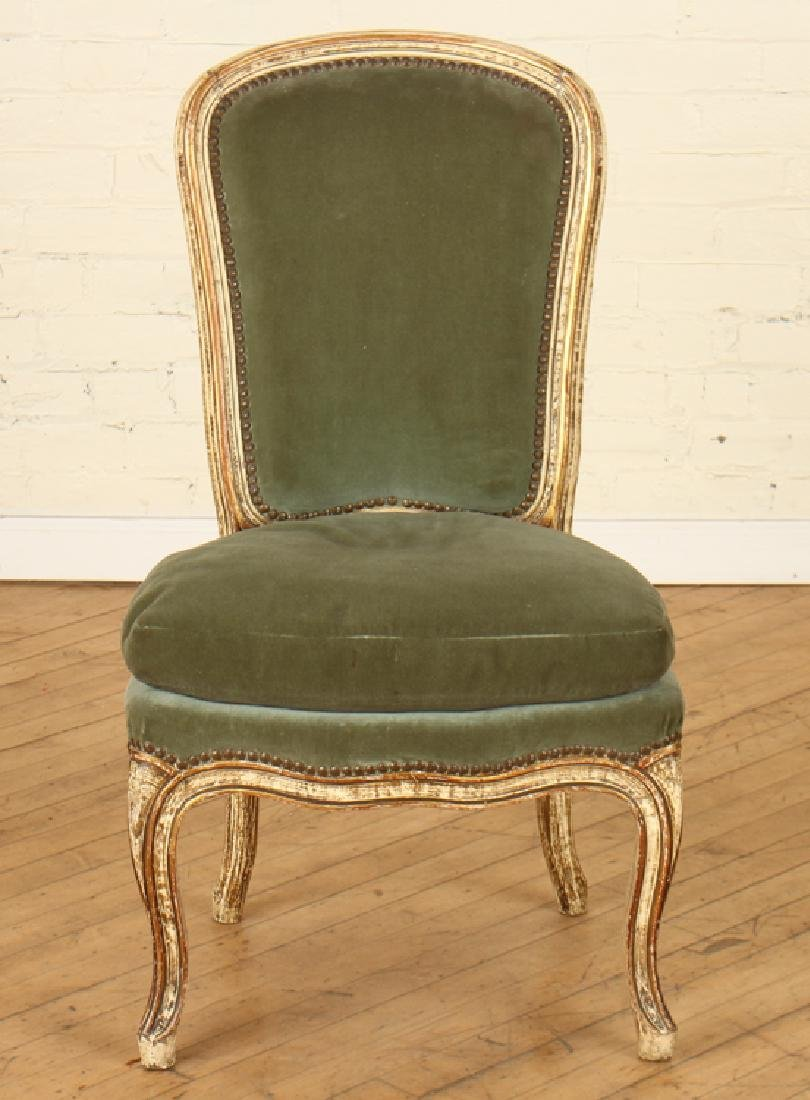 PAIR PAINTED UPHOLSTERED CHAIRS CABRIOLE LEGS - 3