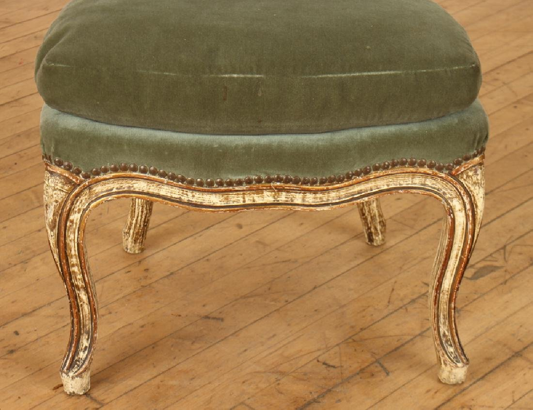 PAIR PAINTED UPHOLSTERED CHAIRS CABRIOLE LEGS - 4