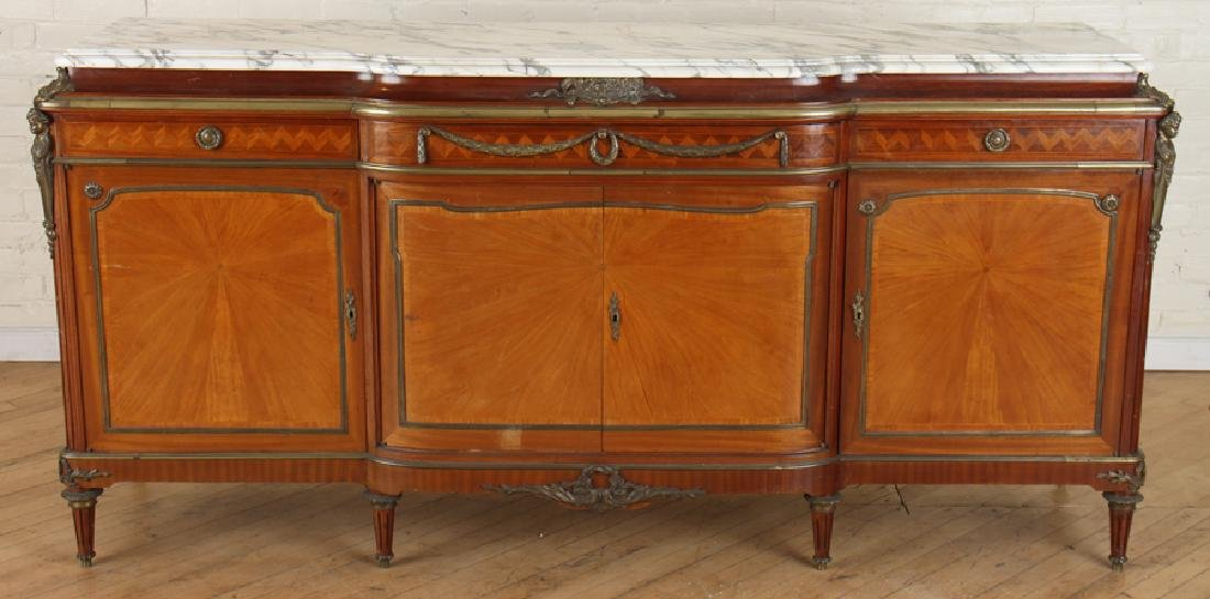 FRENCH SATINWOOD MARBLE TOP SIDEBOARD