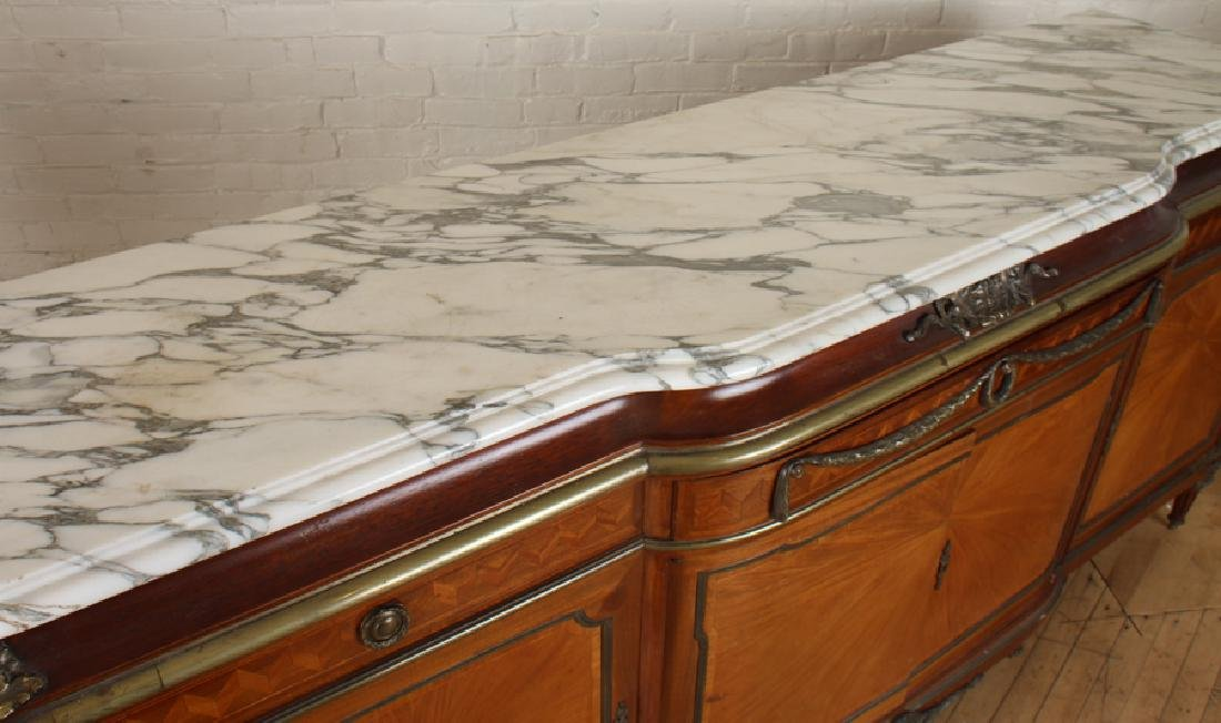 FRENCH SATINWOOD MARBLE TOP SIDEBOARD - 3
