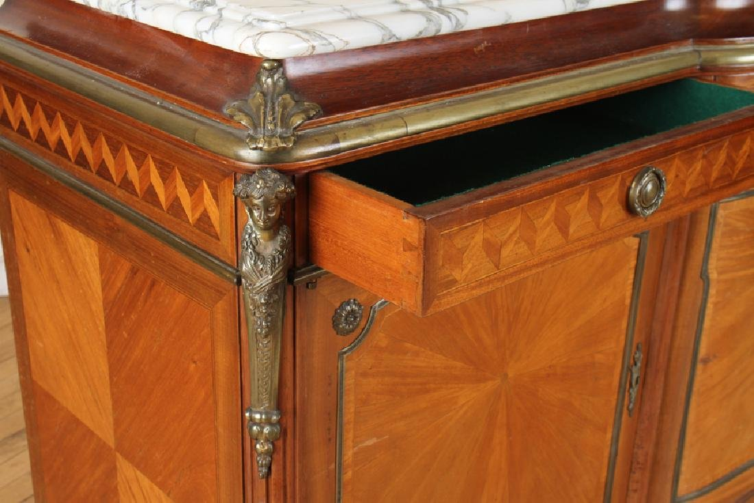 FRENCH SATINWOOD MARBLE TOP SIDEBOARD - 4