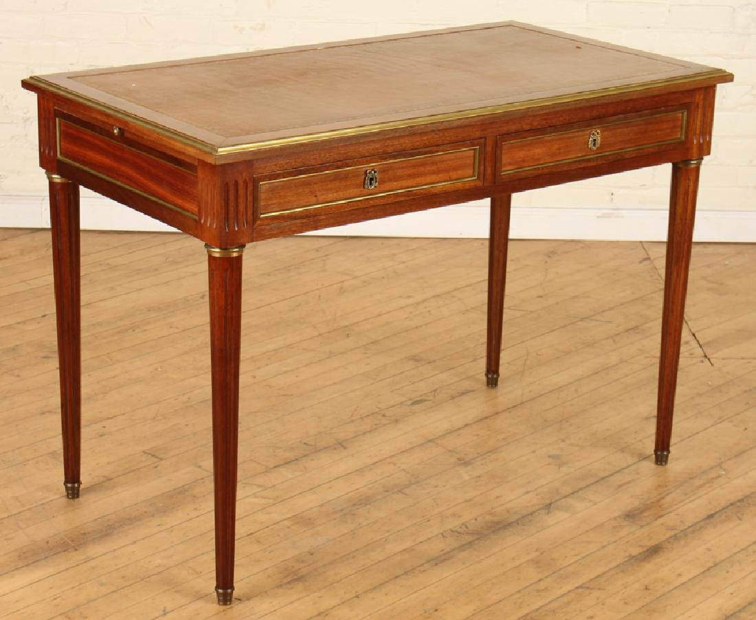 LOUIS XVI STYLE MAHOGANY LEATHER TOP DESK