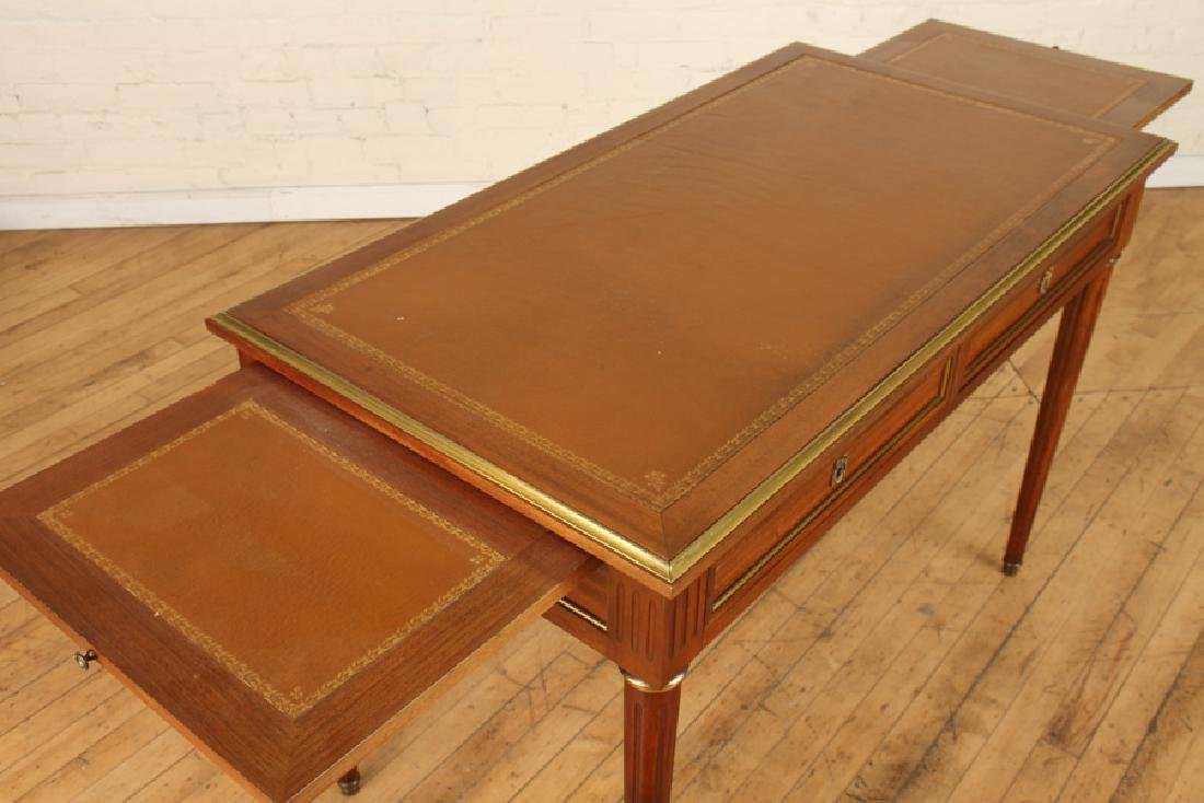 LOUIS XVI STYLE MAHOGANY LEATHER TOP DESK - 5