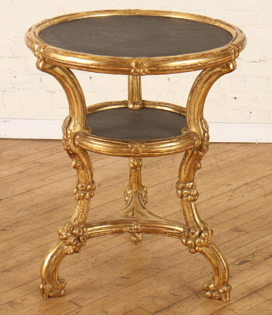 CARVED GILT 2 TIER CENTER TABLE INSET SLATE TOPS