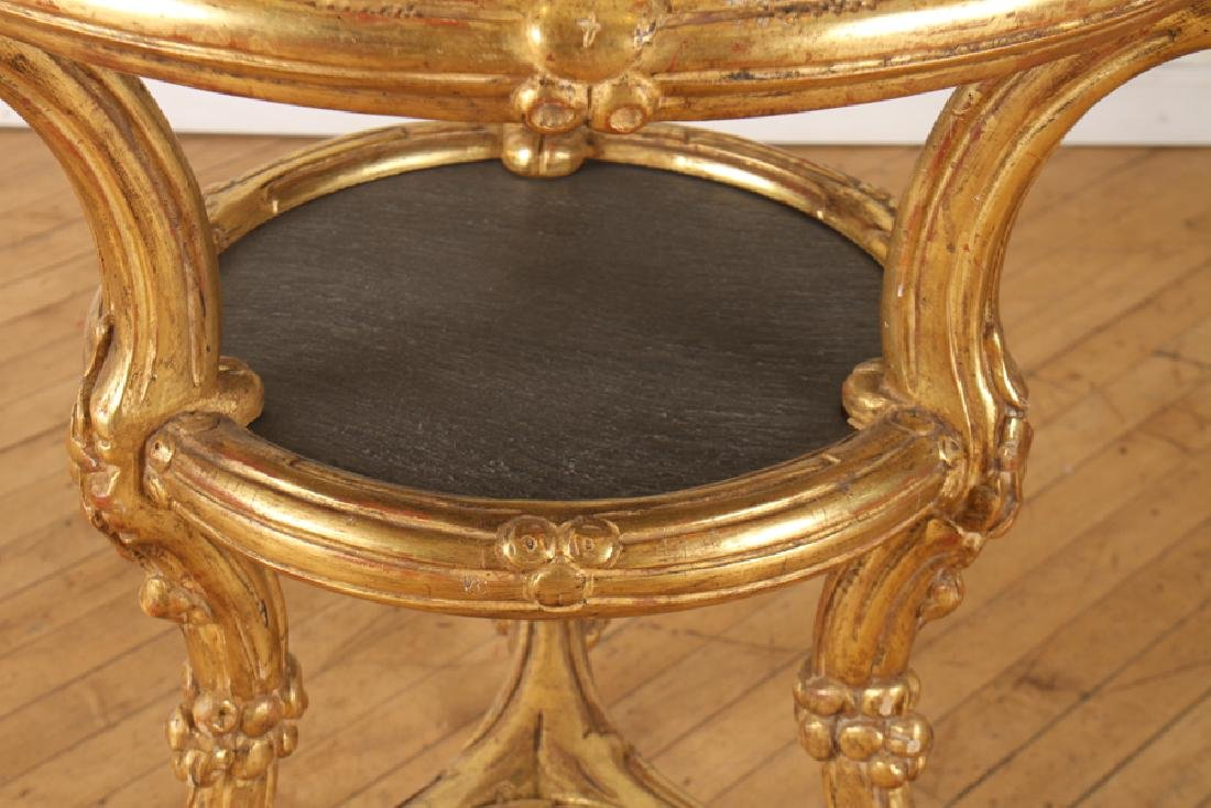 CARVED GILT 2 TIER CENTER TABLE INSET SLATE TOPS - 3