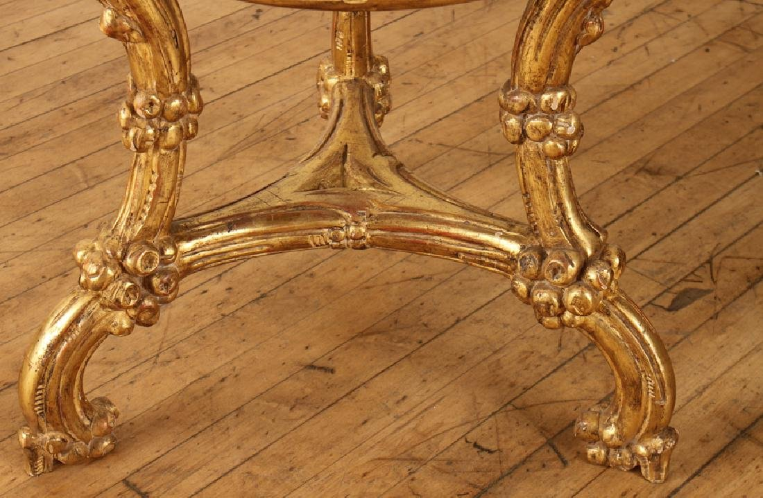 CARVED GILT 2 TIER CENTER TABLE INSET SLATE TOPS - 4