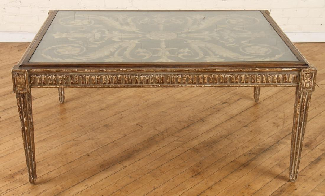 CARVED PAINTED COFFEE TABLE SIGNED CIRCA 1995