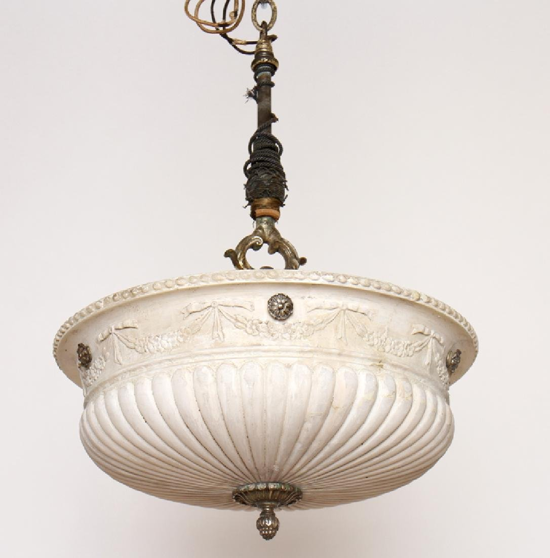 NEOCLASSICAL BRONZE CARVED ALABASTER CHANDELIER