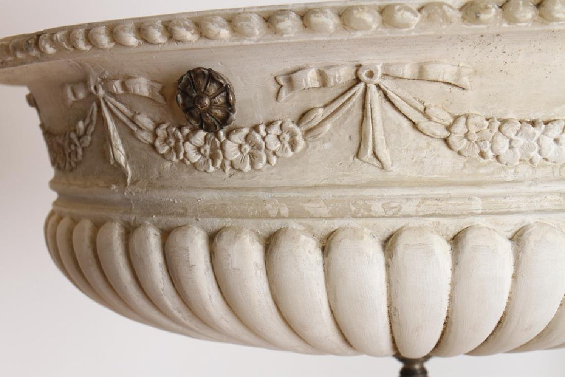NEOCLASSICAL BRONZE CARVED ALABASTER CHANDELIER - 3