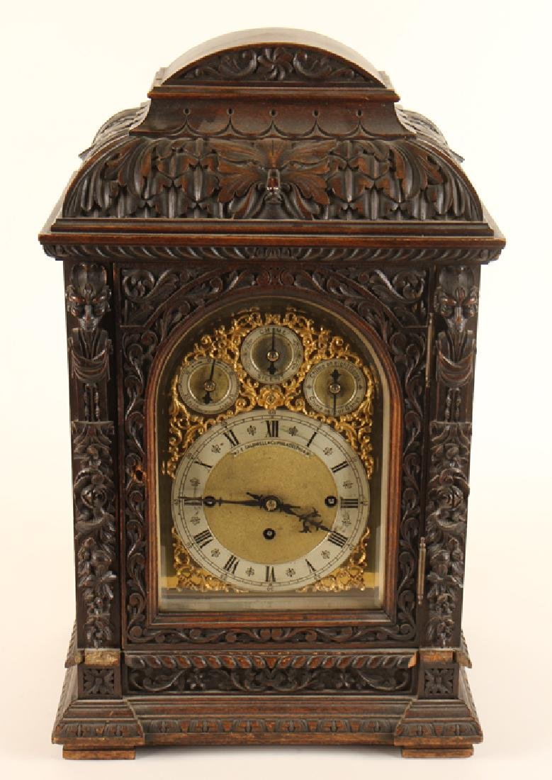 CARVED MAHOGANY BRACKET CLOCK J.E. CALDWELL C1900