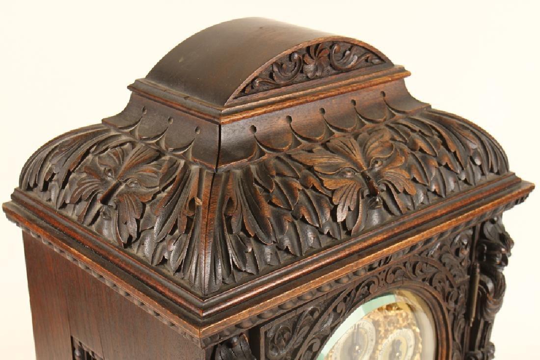 CARVED MAHOGANY BRACKET CLOCK J.E. CALDWELL C1900 - 3