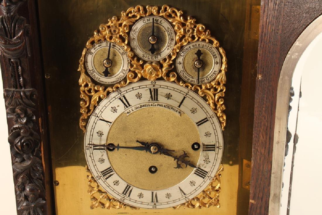 CARVED MAHOGANY BRACKET CLOCK J.E. CALDWELL C1900 - 4