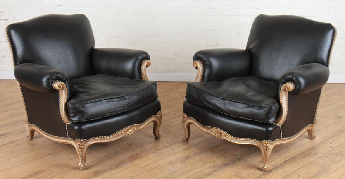 PAIR PAINTED LOUIS XV CLUB CHAIRS BLACK LEATHER