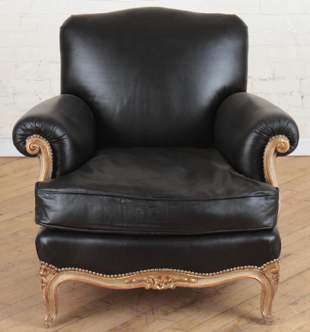 PAIR PAINTED LOUIS XV CLUB CHAIRS BLACK LEATHER - 3