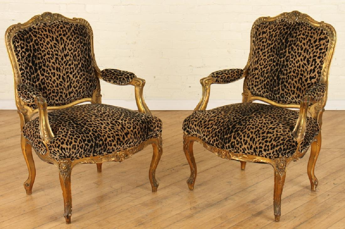 PAIR GILT CARVED FRENCH OPEN ARM CHAIRS