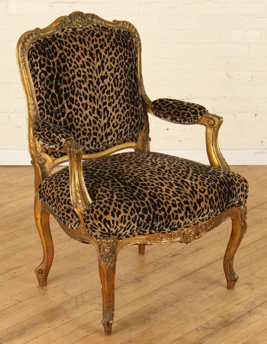 PAIR GILT CARVED FRENCH OPEN ARM CHAIRS - 2