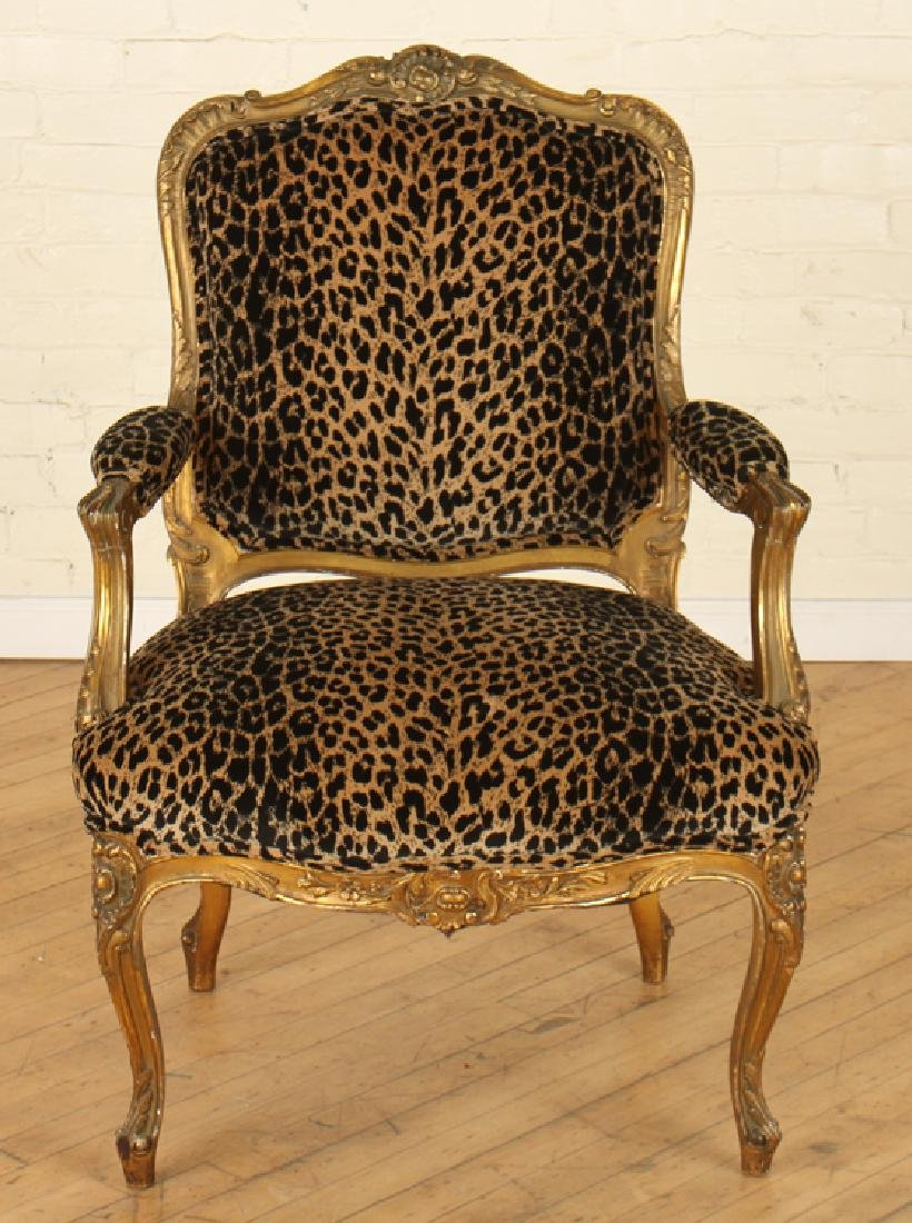 PAIR GILT CARVED FRENCH OPEN ARM CHAIRS - 3