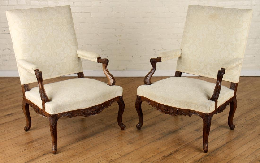 PAIR LOUIS XIV STYLE CARVED WALNUT ARM CHAIRS