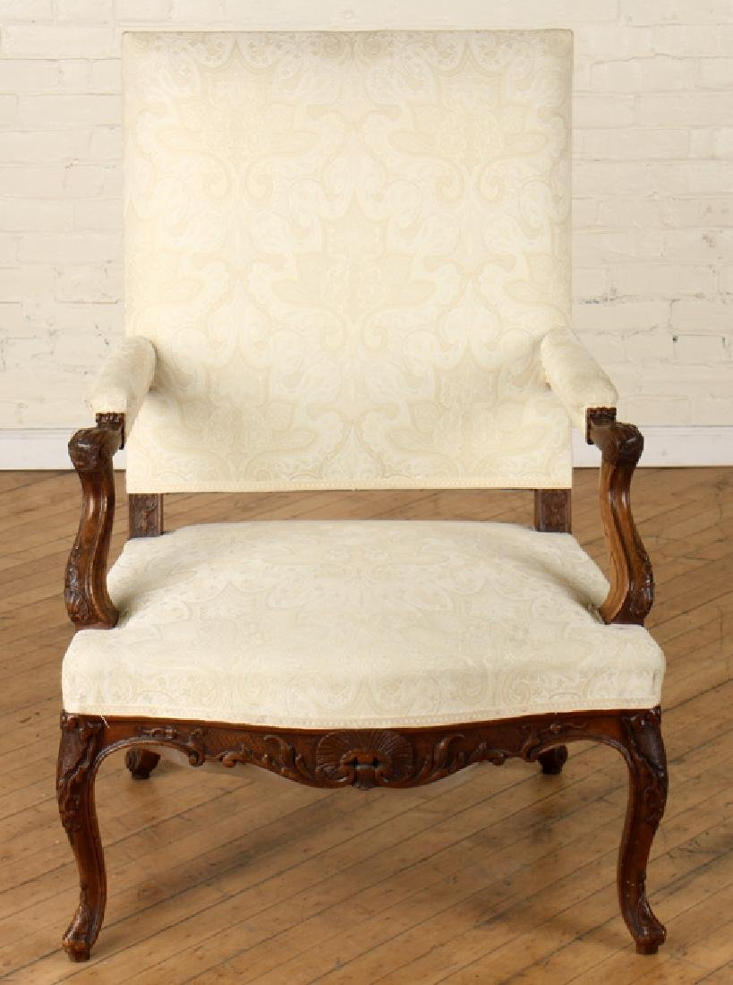 PAIR LOUIS XIV STYLE CARVED WALNUT ARM CHAIRS - 3