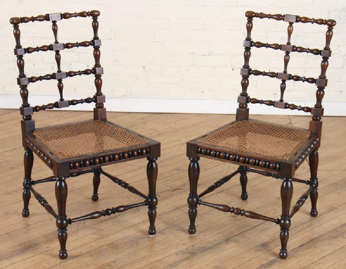 PAIR ITALIAN ROSEWOOD SPINDLE CHAIRS CIRCA 1890