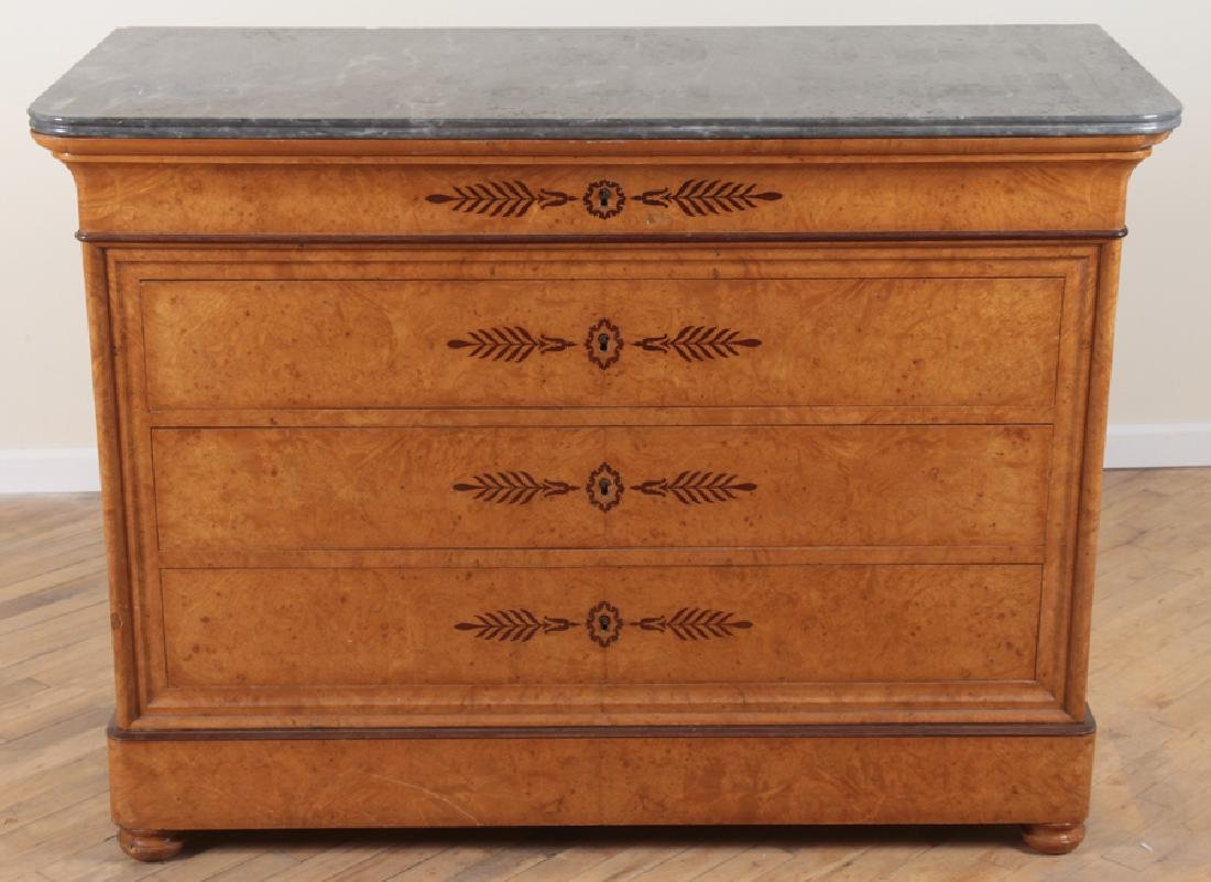 CHARLES X STYLE BURL WOOD MARBLE TOP COMMODE 1860
