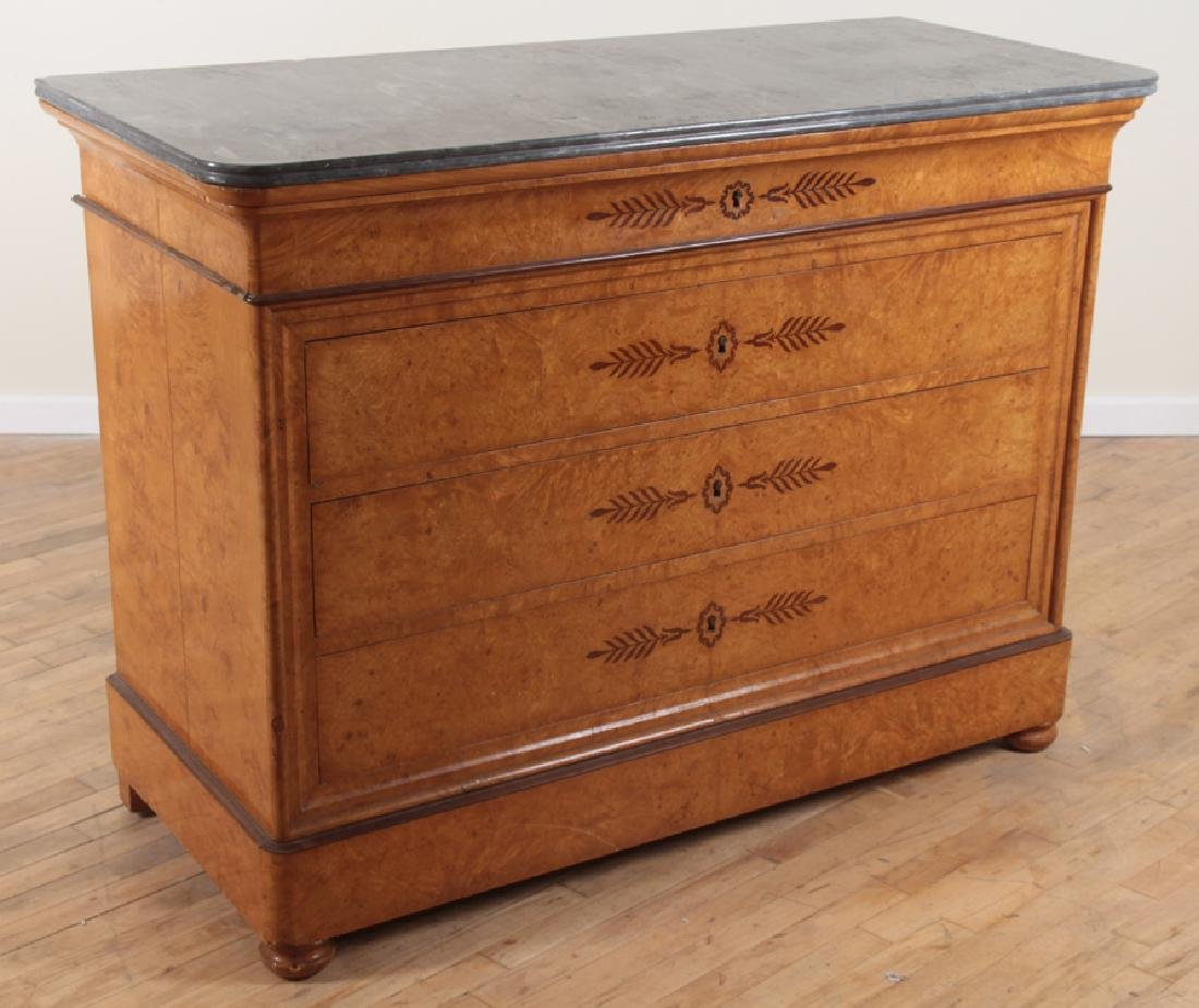 CHARLES X STYLE BURL WOOD MARBLE TOP COMMODE 1860 - 2