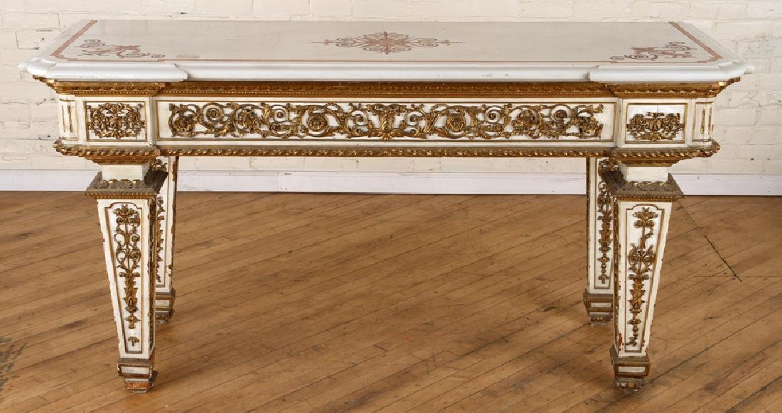 ITALIAN INLAID MARBLE TOP CONSOLE - 2