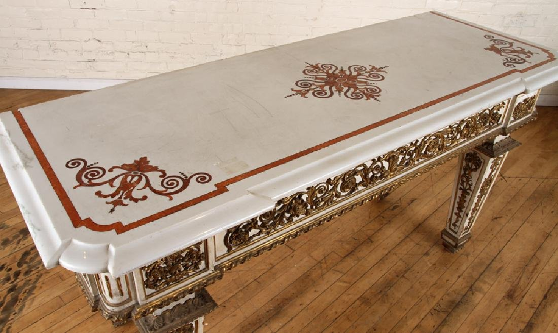 ITALIAN INLAID MARBLE TOP CONSOLE - 3