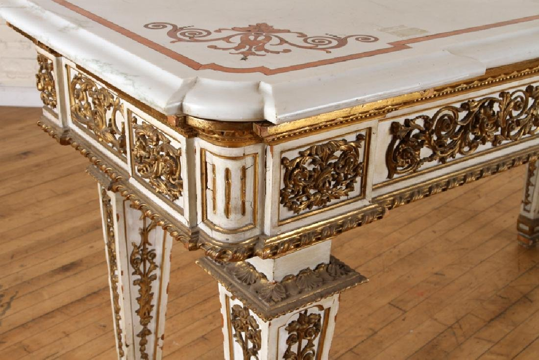 ITALIAN INLAID MARBLE TOP CONSOLE - 5
