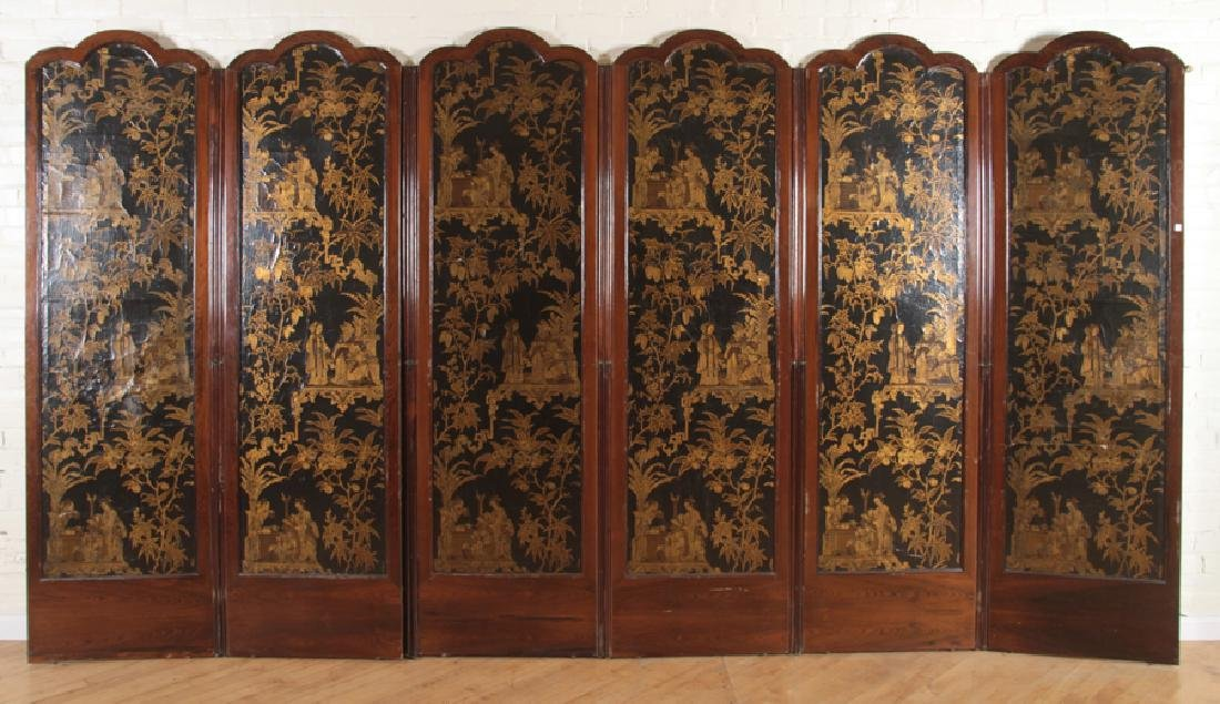 RARE 6 PANEL ROSEWOOD SCREEN HAND PAINTED CANVAS