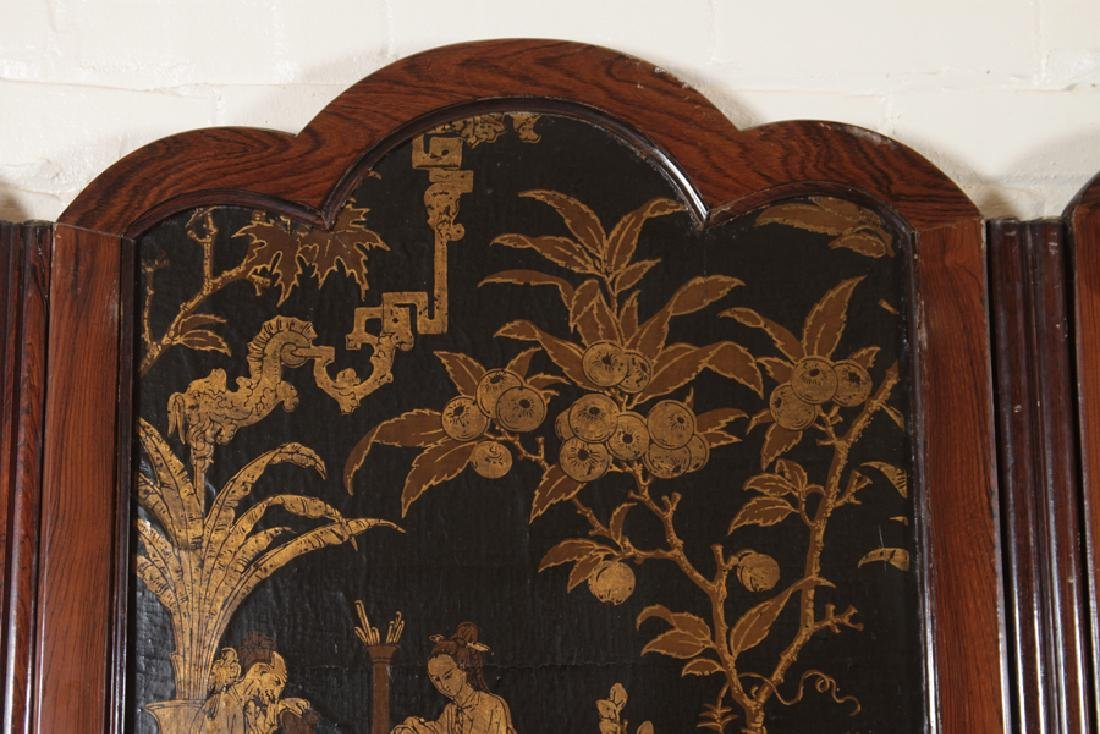 RARE 6 PANEL ROSEWOOD SCREEN HAND PAINTED CANVAS - 6