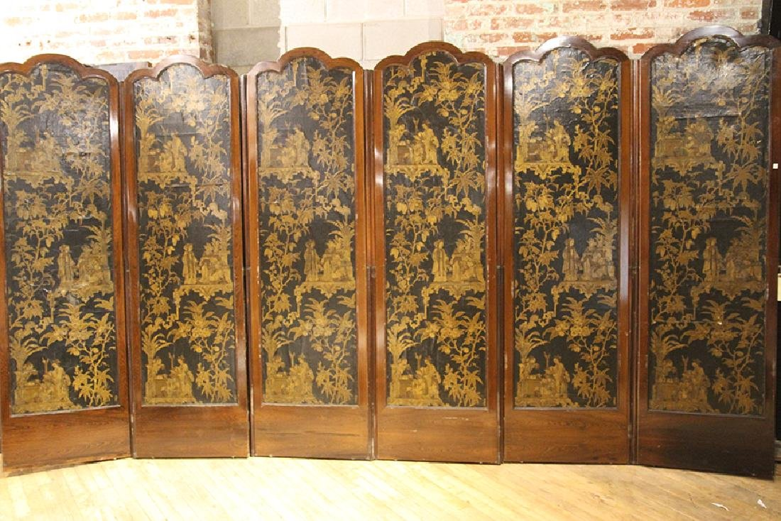 RARE 6 PANEL ROSEWOOD SCREEN HAND PAINTED CANVAS - 7