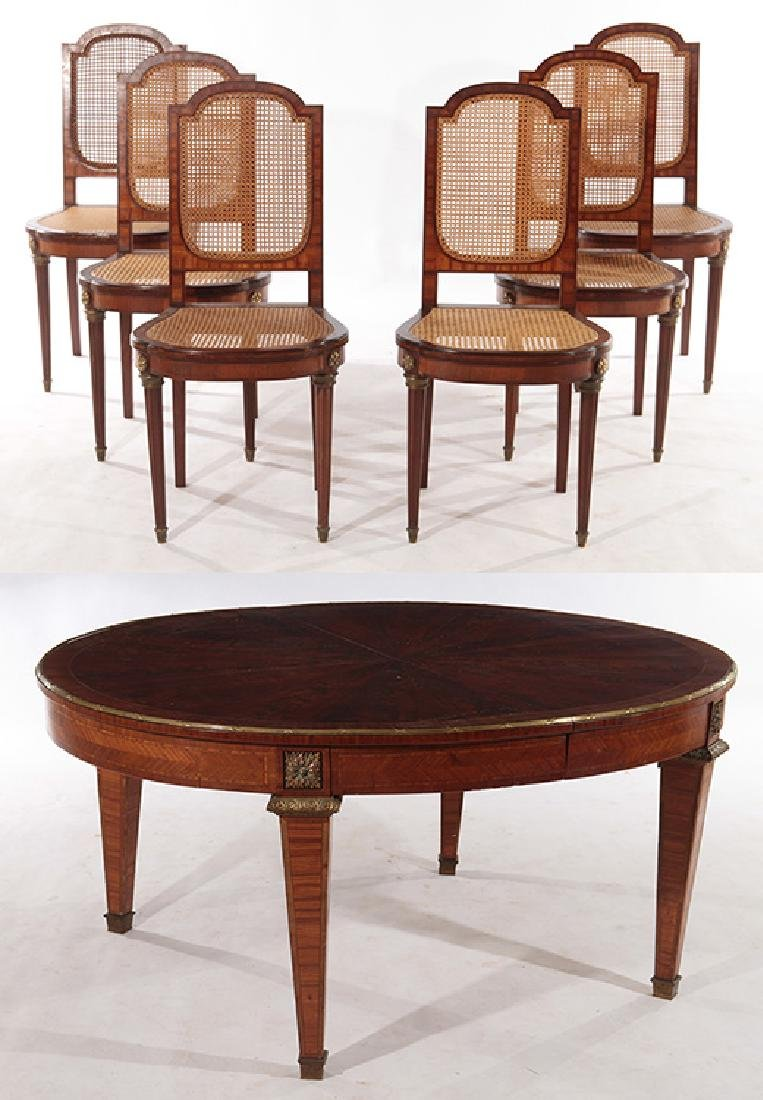 FRENCH DINING TABLE AND CHAIRS CIRCA 1900