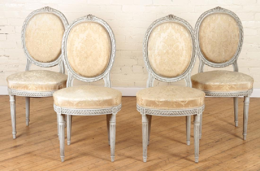 SET OF FOUR LOUIS XVI STYLE SIDE CHAIRS C. 1920