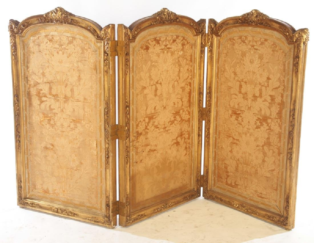 CARVED GILT WOOD LOUIS XV 3 PANEL SCREEN C.1900