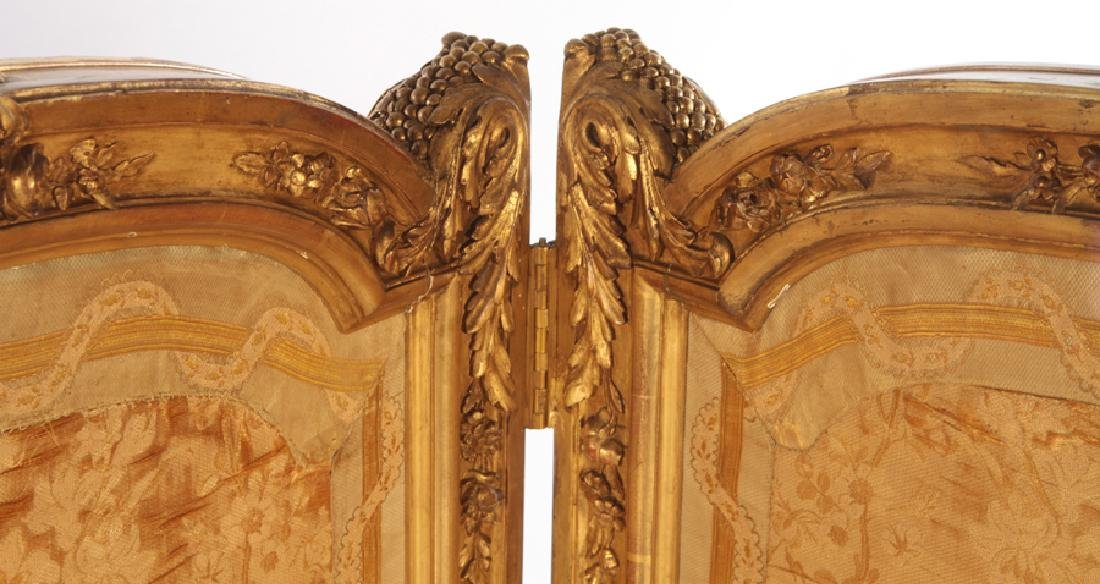 CARVED GILT WOOD LOUIS XV 3 PANEL SCREEN C.1900 - 2
