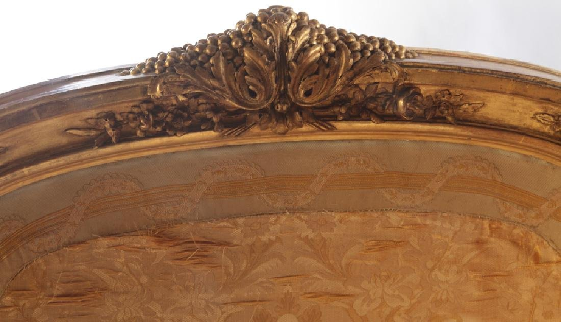 CARVED GILT WOOD LOUIS XV 3 PANEL SCREEN C.1900 - 3